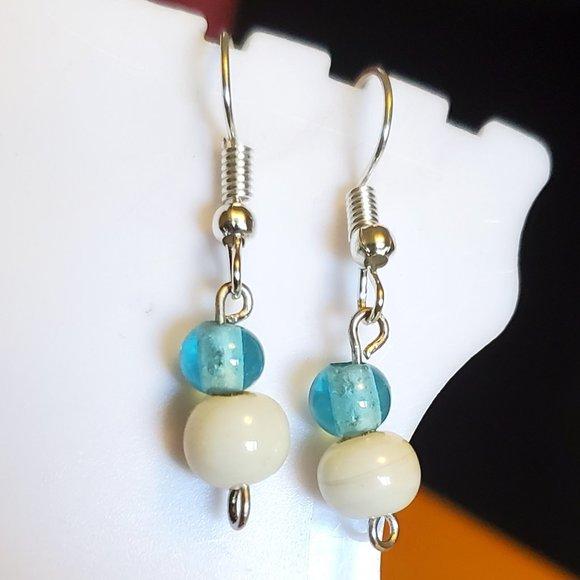 Silver Tone Hook Glass Bead Dangle Earrings Style